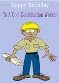 Construction Worker - Greeting Card